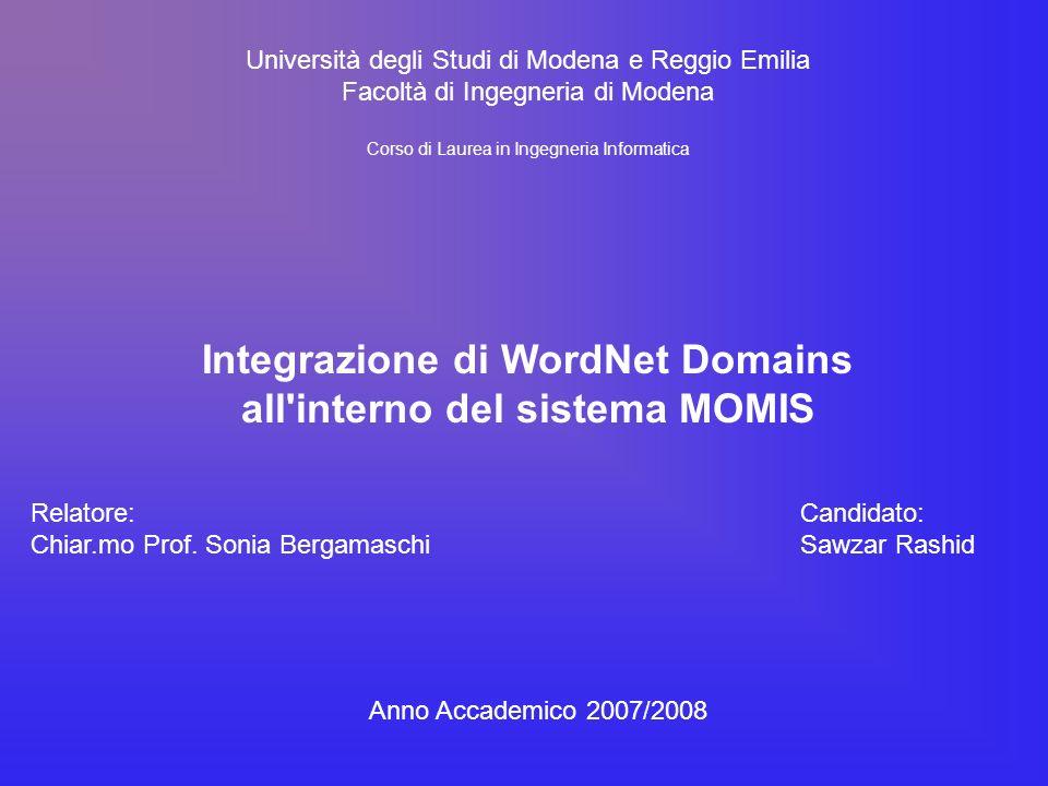 Università degli Studi di Modena e Reggio Emilia Facoltà di Ingegneria di Modena Corso di Laurea in Ingegneria Informatica Integrazione di WordNet Domains all interno del sistema MOMIS Relatore: Chiar.mo Prof.