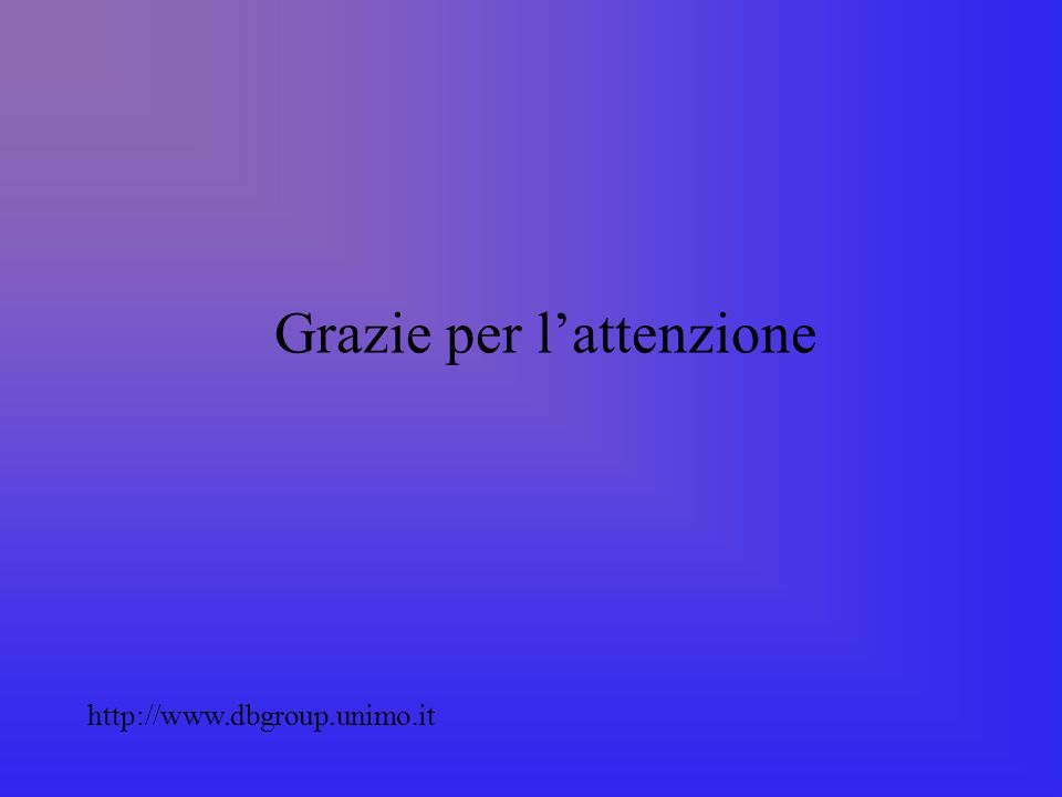 Grazie per lattenzione http://www.dbgroup.unimo.it