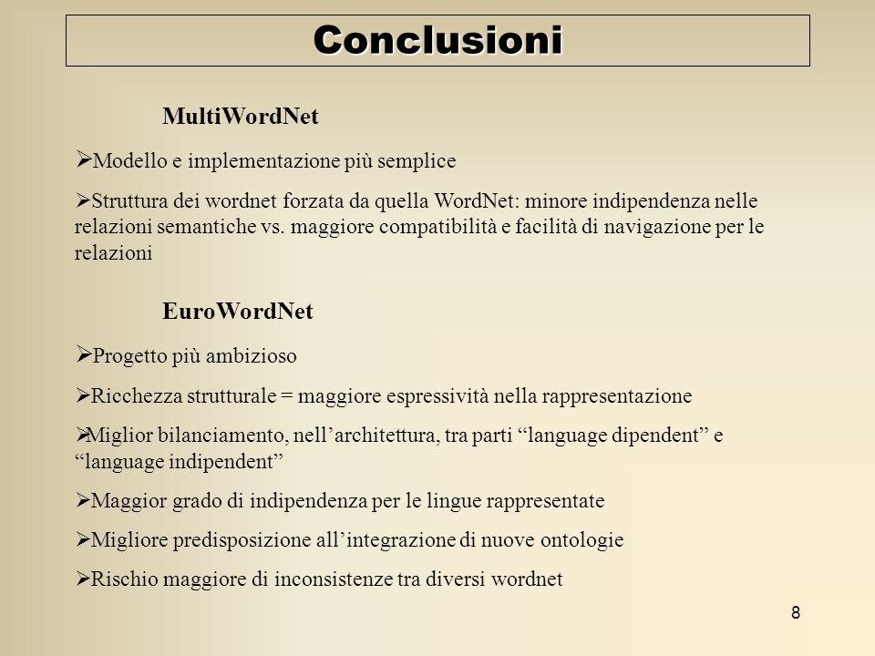 8 Conclusioni MultiWordNet Modello e implementazione più semplice Struttura dei wordnet forzata da quella WordNet: minore indipendenza nelle relazioni semantiche vs.