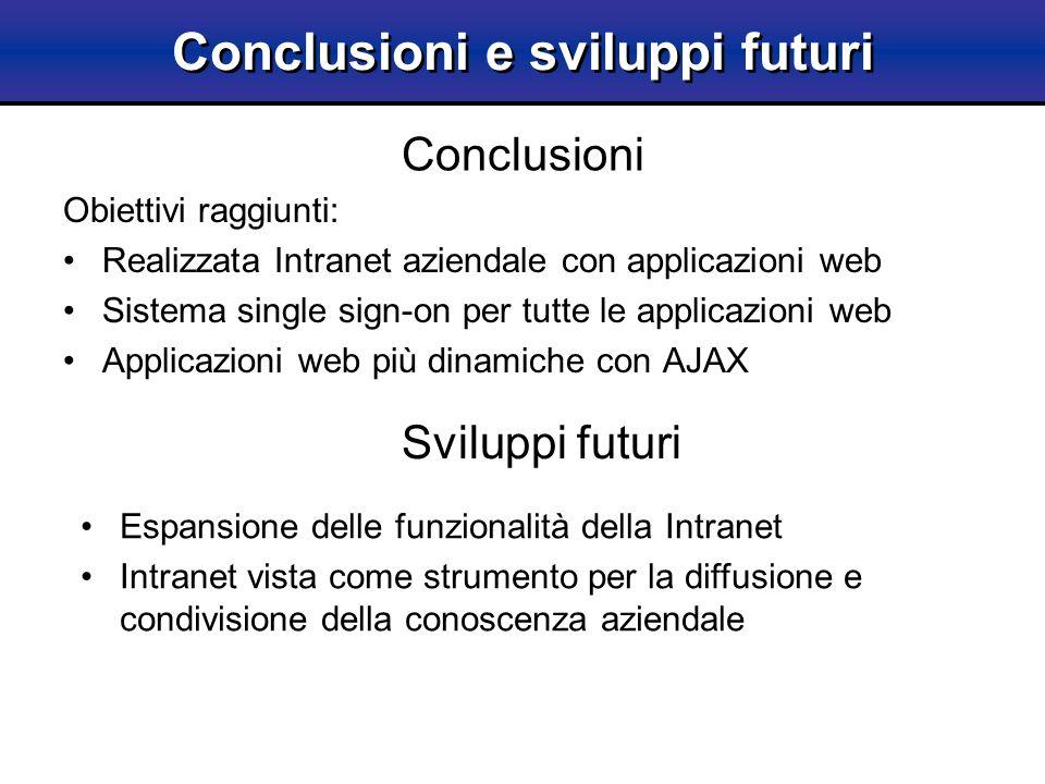Obiettivi raggiunti: Realizzata Intranet aziendale con applicazioni web Sistema single sign-on per tutte le applicazioni web Applicazioni web più dina