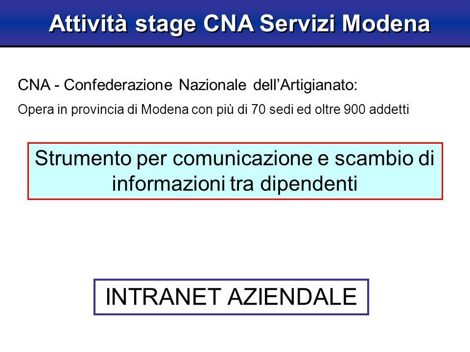Intranet CNA Modena CMS - Content Management System Struttura sito web visibile allinterno alla rete aziendale Applicazioni web sezioni Intranet: Rubrica Circolari Documenti di sede Gestione Fatture Applicazioni Internet