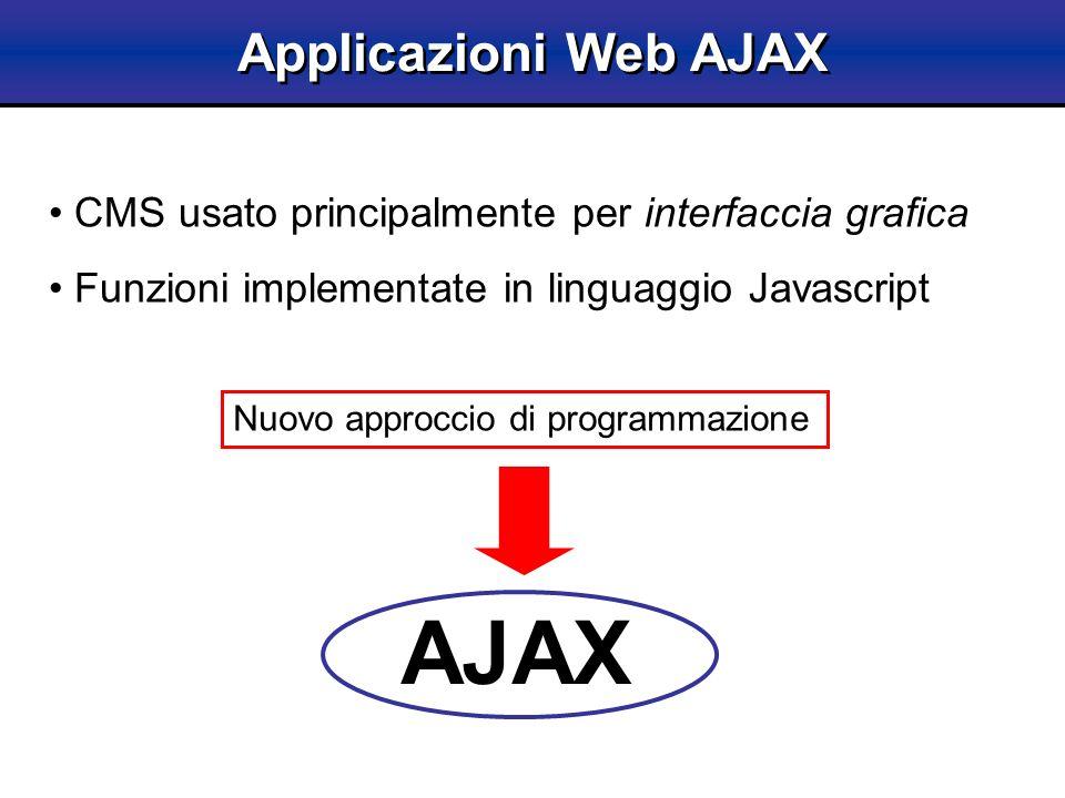 Applicazioni Web AJAX Nuovo approccio di programmazione AJAX CMS usato principalmente per interfaccia grafica Funzioni implementate in linguaggio Java