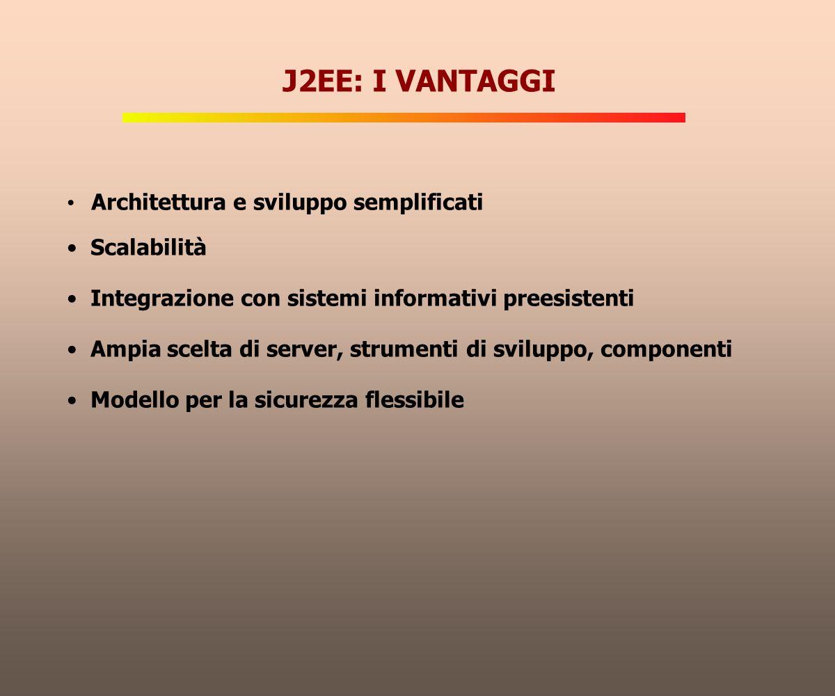Architettura e sviluppo semplificati Scalabilità Integrazione con sistemi informativi preesistenti Ampia scelta di server, strumenti di sviluppo, comp