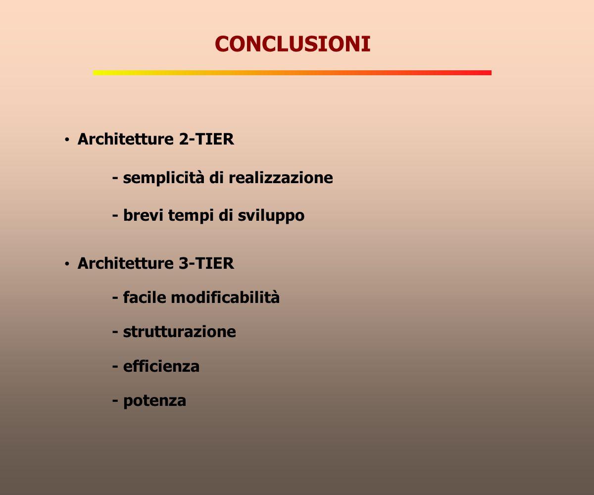 CONCLUSIONI Architetture 2-TIER - semplicità di realizzazione - brevi tempi di sviluppo Architetture 3-TIER - facile modificabilità - strutturazione -