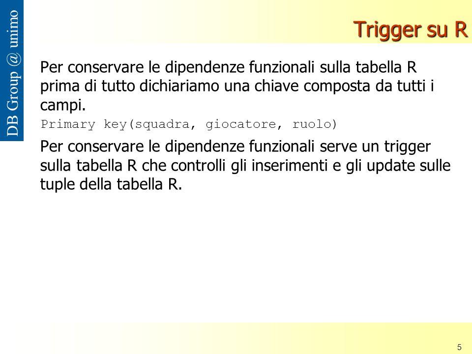 Università di Modena e Reggio Emilia 5 DB Group @ unimo Trigger su R Per conservare le dipendenze funzionali sulla tabella R prima di tutto dichiariamo una chiave composta da tutti i campi.