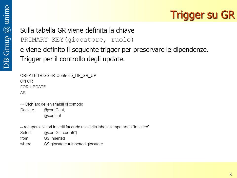 Università di Modena e Reggio Emilia 8 DB Group @ unimo Trigger su GR Sulla tabella GR viene definita la chiave PRIMARY KEY(giocatore, ruolo) e viene definito il seguente trigger per preservare le dipendenze.