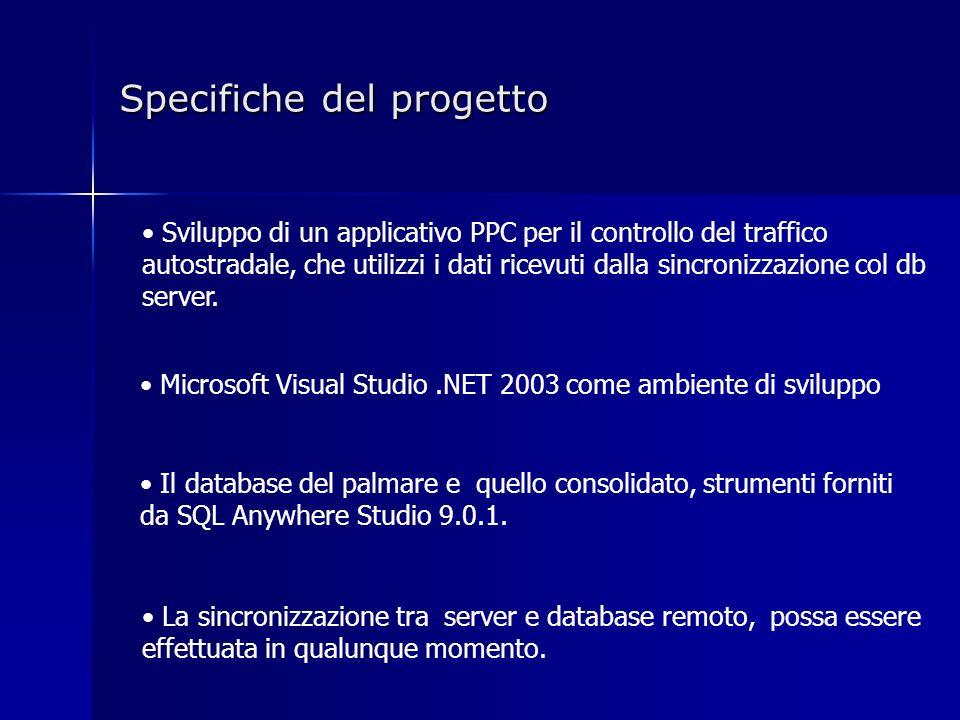 Specifiche del progetto Sviluppo di un applicativo PPC per il controllo del traffico autostradale, che utilizzi i dati ricevuti dalla sincronizzazione col db server.