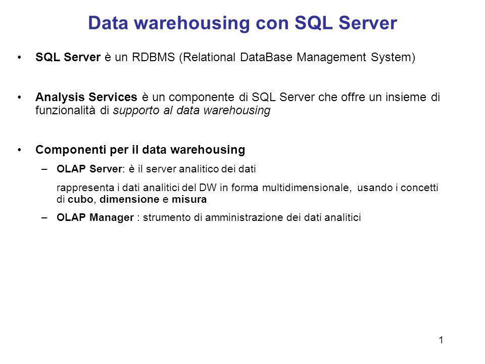 1 Data warehousing con SQL Server SQL Server è un RDBMS (Relational DataBase Management System) Analysis Services è un componente di SQL Server che of