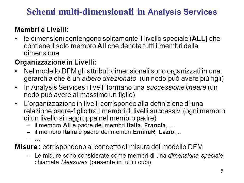 5 Schemi multi-dimensionali in Analysis Services Membri e Livelli: le dimensioni contengono solitamente il livello speciale (ALL) che contiene il solo