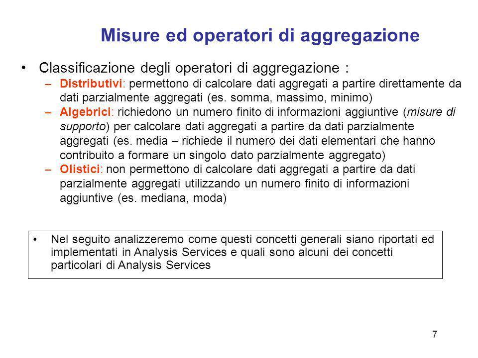 7 Misure ed operatori di aggregazione Classificazione degli operatori di aggregazione : –Distributivi: permettono di calcolare dati aggregati a partir