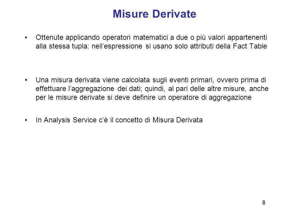 8 Misure Derivate Ottenute applicando operatori matematici a due o più valori appartenenti alla stessa tupla: nellespressione si usano solo attributi