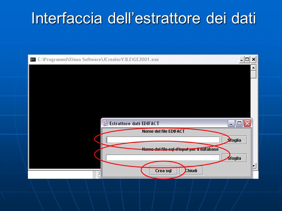 Interfaccia dellestrattore dei dati