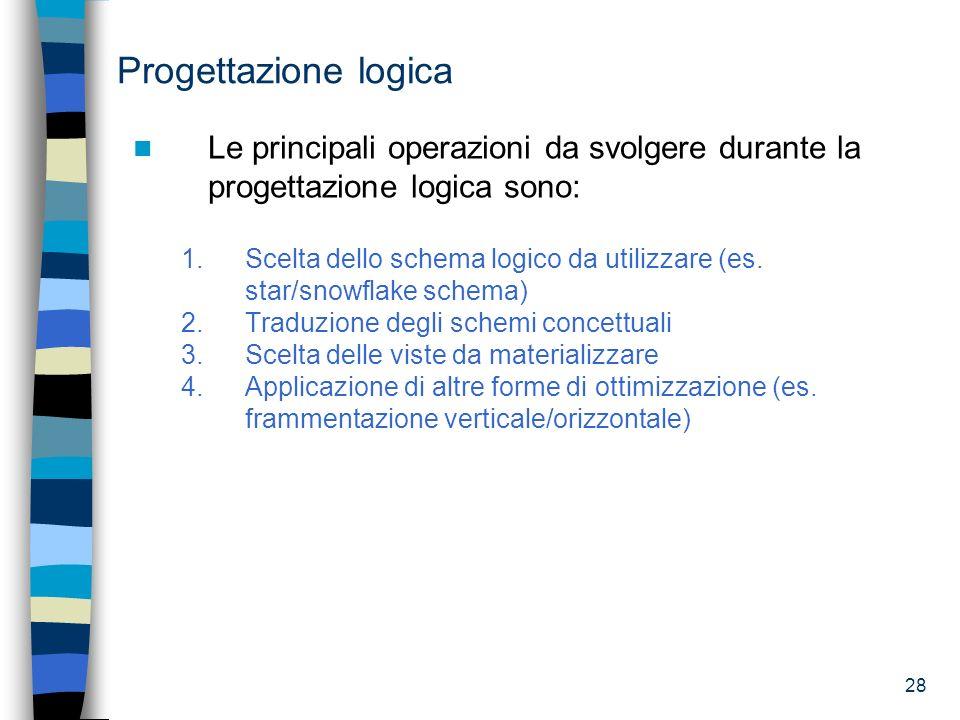 28 Progettazione logica Le principali operazioni da svolgere durante la progettazione logica sono: 1.Scelta dello schema logico da utilizzare (es. sta