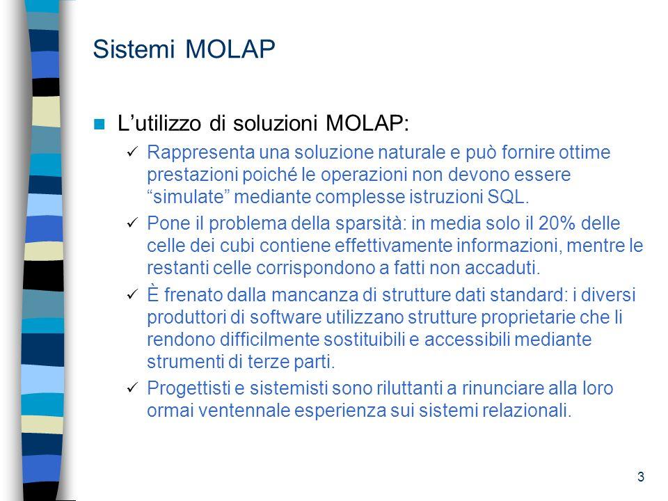 3 Sistemi MOLAP Lutilizzo di soluzioni MOLAP: Rappresenta una soluzione naturale e può fornire ottime prestazioni poiché le operazioni non devono esse