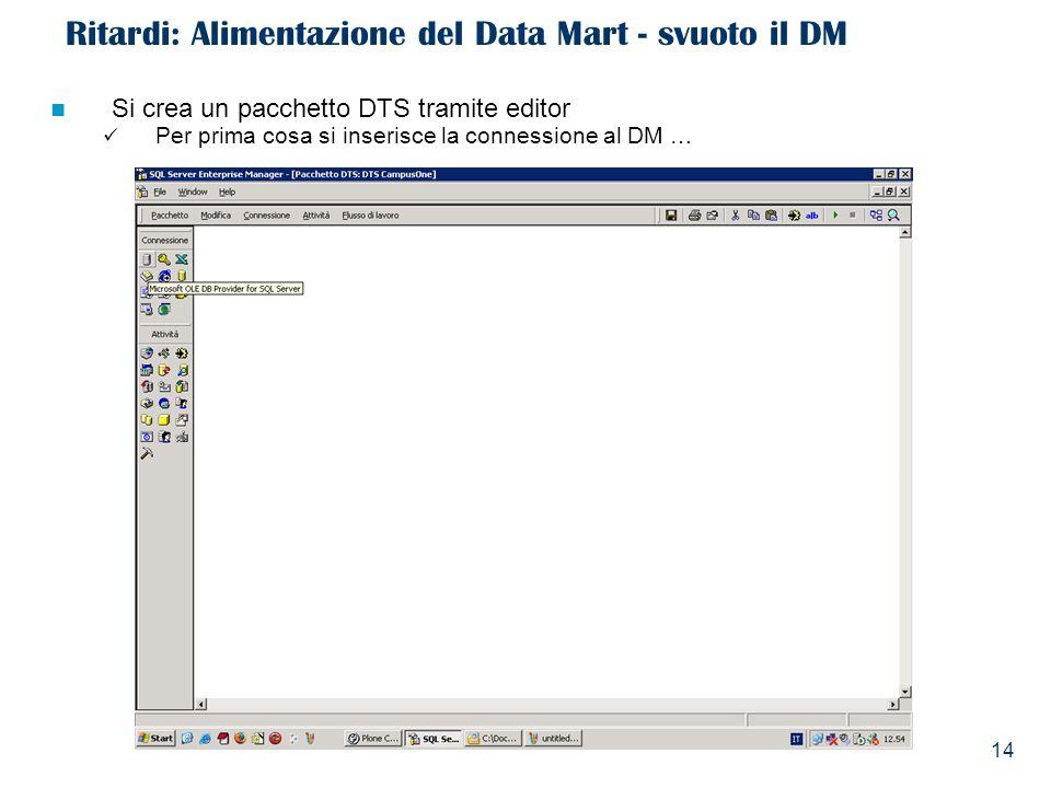 14 Ritardi: Alimentazione del Data Mart - svuoto il DM Si crea un pacchetto DTS tramite editor Per prima cosa si inserisce la connessione al DM …