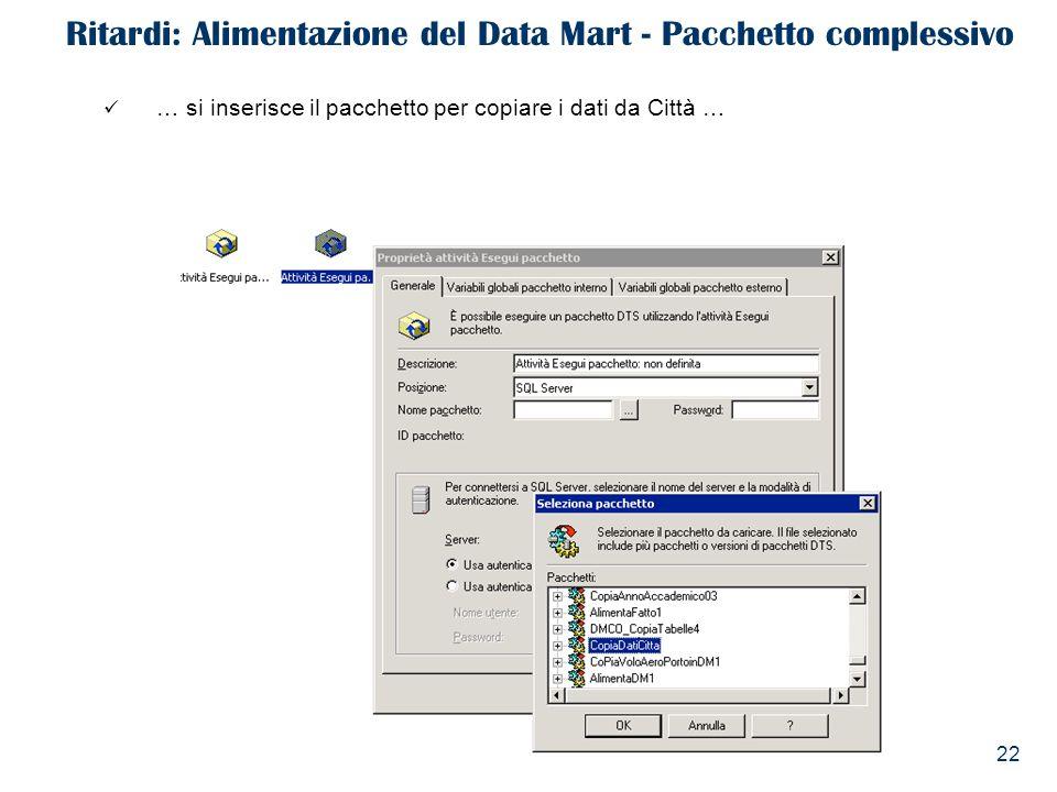 22 Ritardi: Alimentazione del Data Mart - Pacchetto complessivo … si inserisce il pacchetto per copiare i dati da Città …