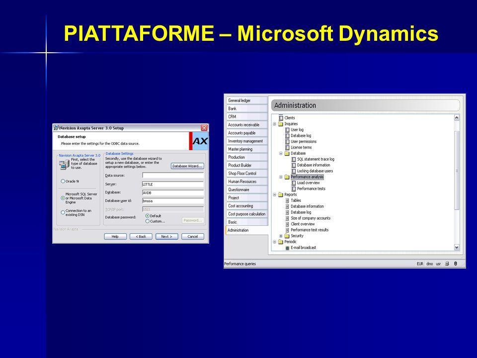 PIATTAFORME – Microsoft Dynamics Installazione di Microsoft Dynamics Configurazione DBMS Installabile solo su Windows Tempi brevi di installazione