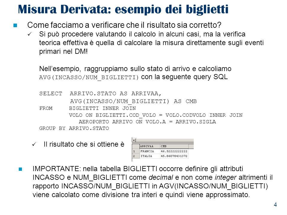 4 Misura Derivata: esempio dei biglietti Il risultato che si ottiene è Come facciamo a verificare che il risultato sia corretto.