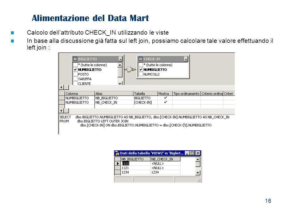 16 Alimentazione del Data Mart Calcolo dellattributo CHECK_IN utilizzando le viste In base alla discussione già fatta sul left join, possiamo calcolar