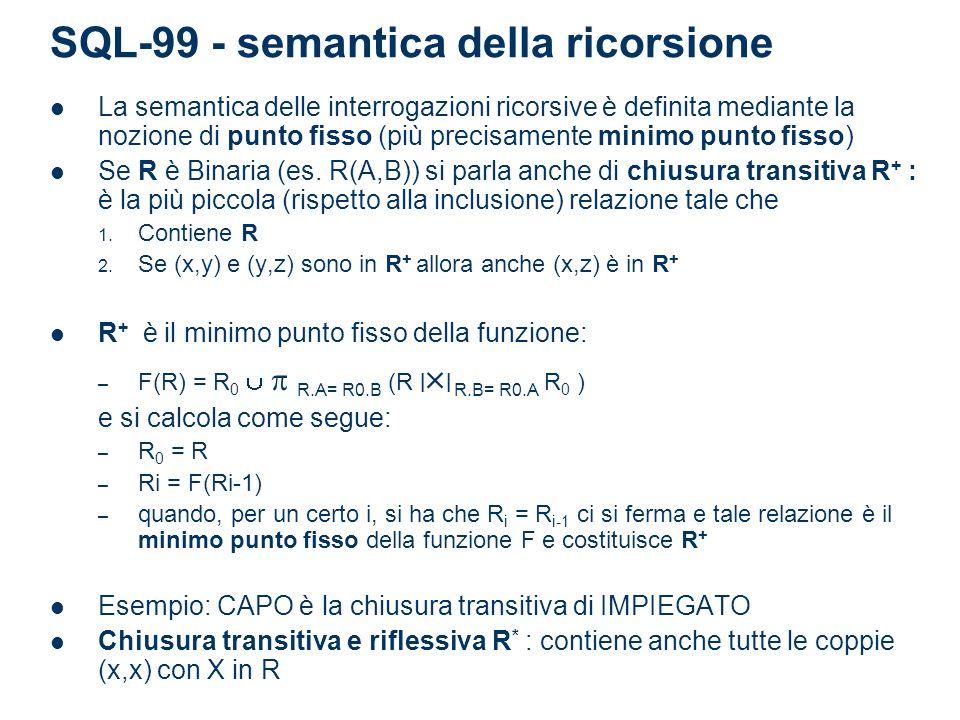 Esempio Determinare i cammini di un grafo dati gli archi WITH RECURSIVE Cammino(da,a) AS (SELECT da,a FROM Arco) UNION (SELECT R1.da, R2.a FROM Arco AS R1, Cammino AS R2 WHERE R1.a = R2.da); SELECT * FROM Cammino;