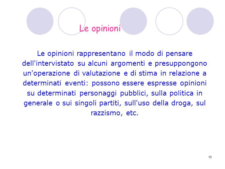 19 Le opinioni rappresentano il modo di pensare dell'intervistato su alcuni argomenti e presuppongono un'operazione di valutazione e di stima in relaz