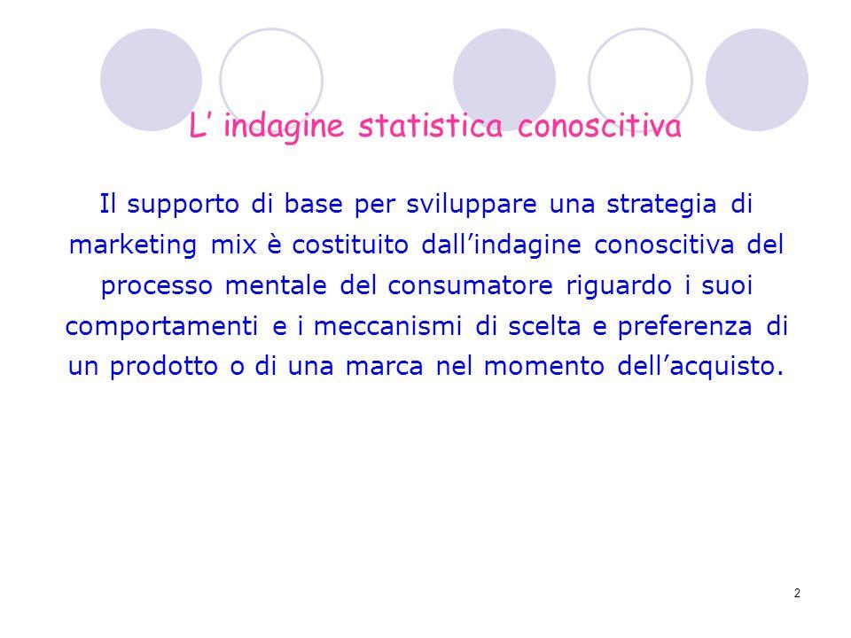 2 Il supporto di base per sviluppare una strategia di marketing mix è costituito dallindagine conoscitiva del processo mentale del consumatore riguard