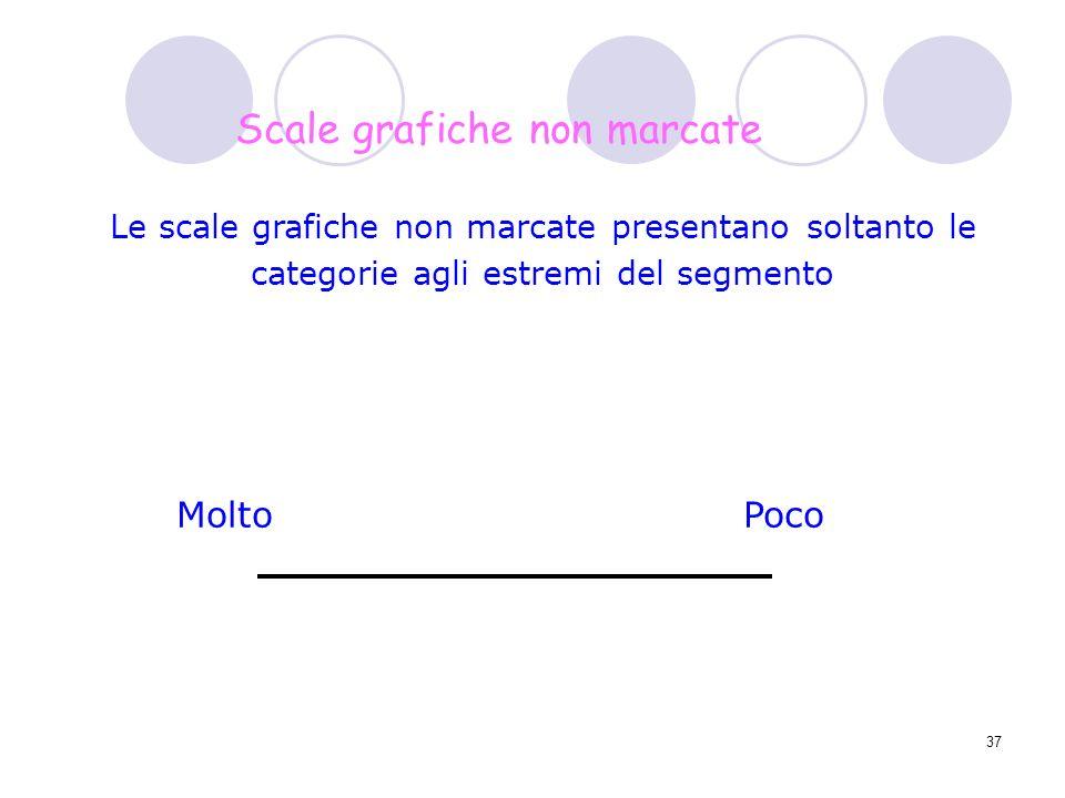 37 Le scale grafiche non marcate presentano soltanto le categorie agli estremi del segmento Scale grafiche non marcate MoltoPoco