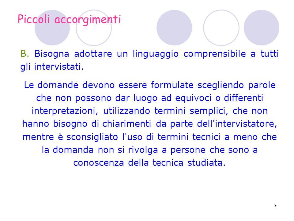 9 B. Bisogna adottare un linguaggio comprensibile a tutti gli intervistati. Le domande devono essere formulate scegliendo parole che non possono dar l