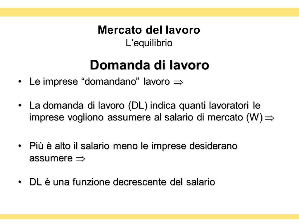 Mercato del lavoro Lequilibrio Domanda di lavoro Le imprese domandano lavoroLe imprese domandano lavoro La domanda di lavoro (DL) indica quanti lavora