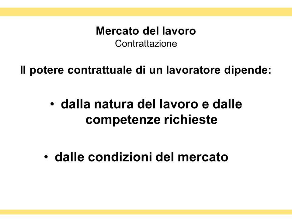 Mercato del lavoro Contrattazione Il potere contrattuale di un lavoratore dipende: dalla natura del lavoro e dalle competenze richieste dalle condizio