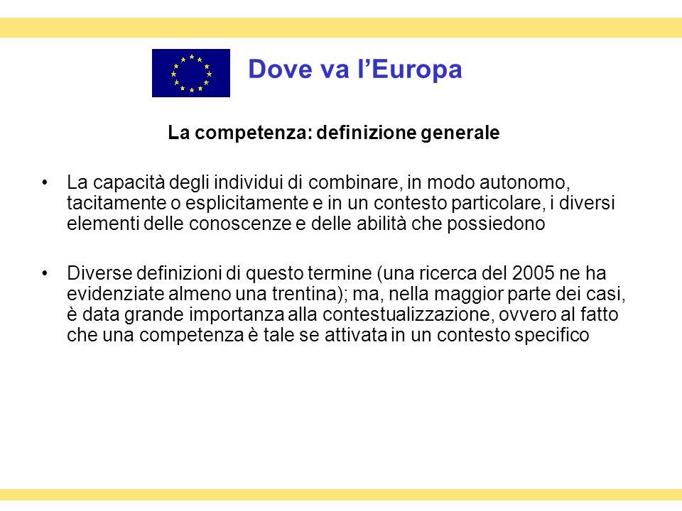 Dove va lEuropa La competenza: definizione generale La capacità degli individui di combinare, in modo autonomo, tacitamente o esplicitamente e in un c