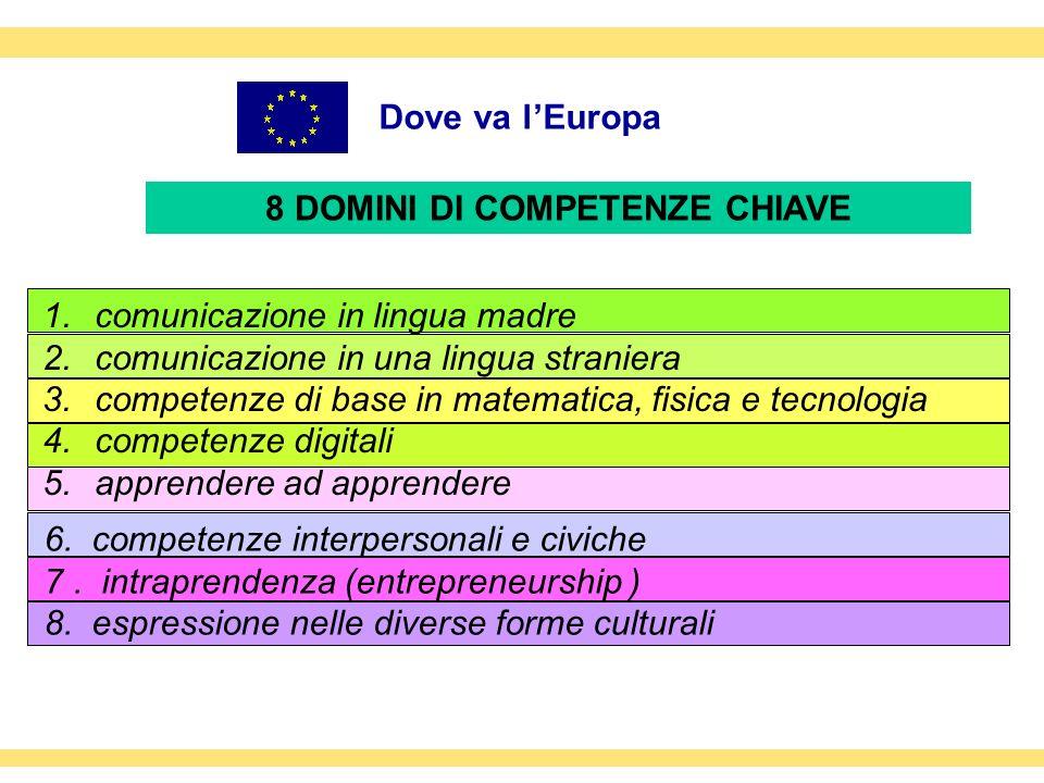 Dove va lEuropa 1.comunicazione in lingua madre 2.comunicazione in una lingua straniera 3.competenze di base in matematica, fisica e tecnologia 4.comp