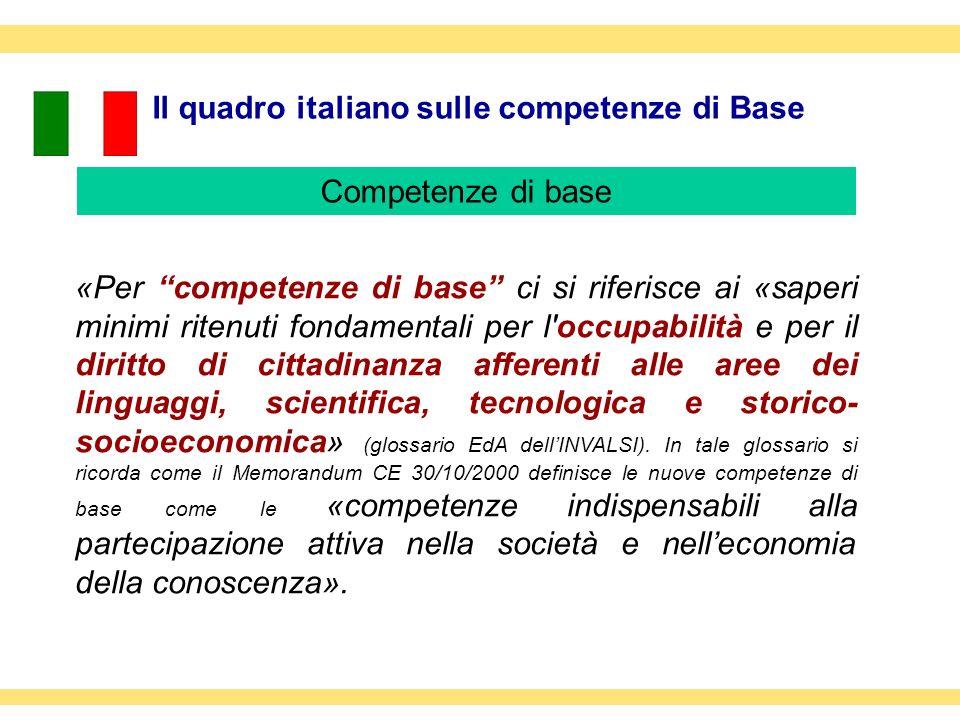 Il quadro italiano sulle competenze di Base «Per competenze di base ci si riferisce ai «saperi minimi ritenuti fondamentali per l'occupabilità e per i