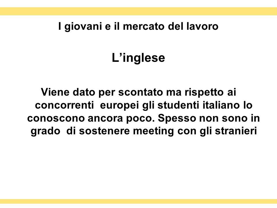 I giovani e il mercato del lavoro Linglese Viene dato per scontato ma rispetto ai concorrenti europei gli studenti italiano lo conoscono ancora poco.