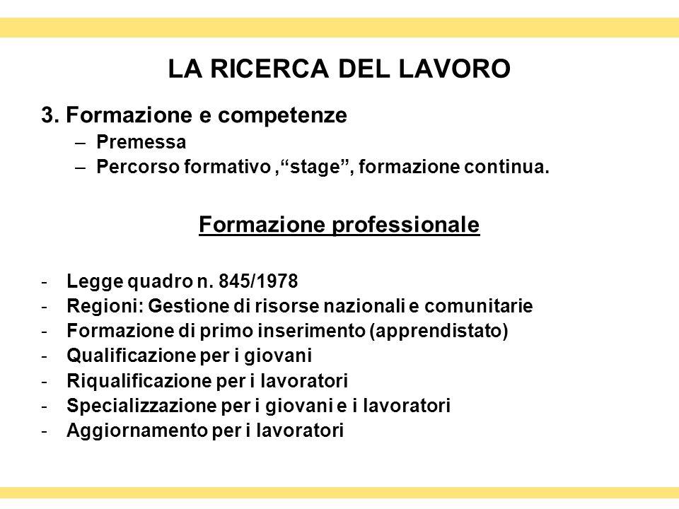 LA RICERCA DEL LAVORO 3. Formazione e competenze –Premessa –Percorso formativo,stage, formazione continua. Formazione professionale -Legge quadro n. 8