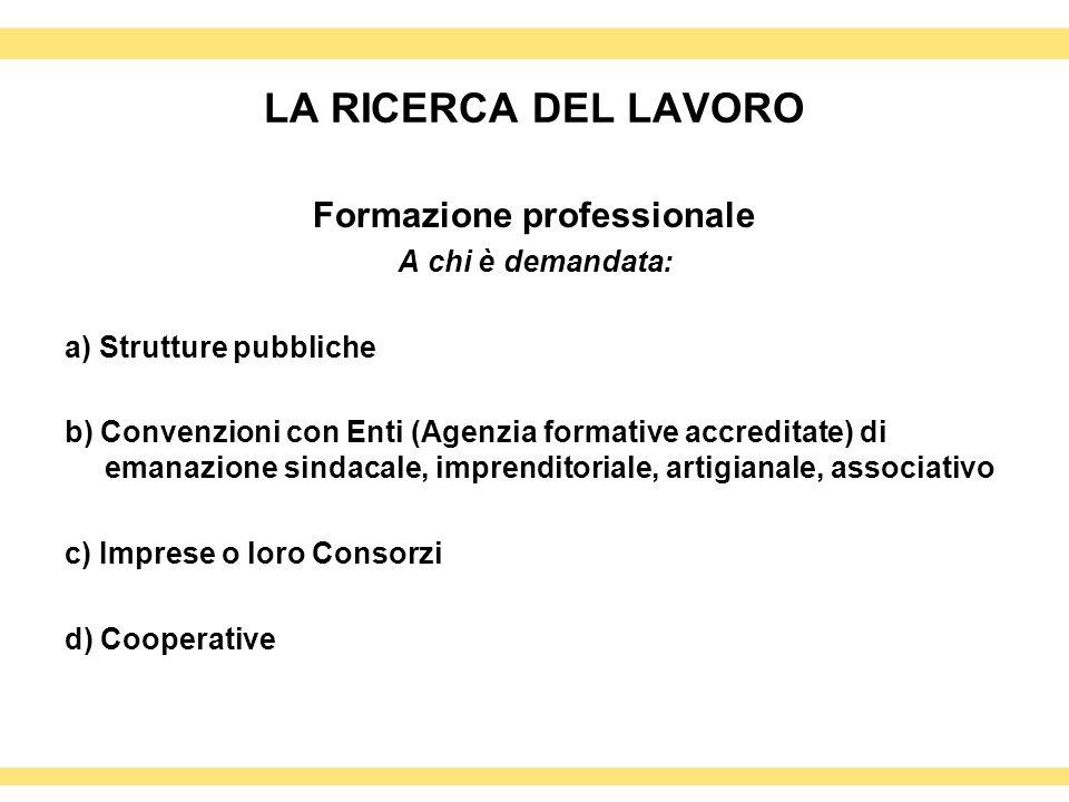 LA RICERCA DEL LAVORO Formazione professionale A chi è demandata: a) Strutture pubbliche b) Convenzioni con Enti (Agenzia formative accreditate) di em