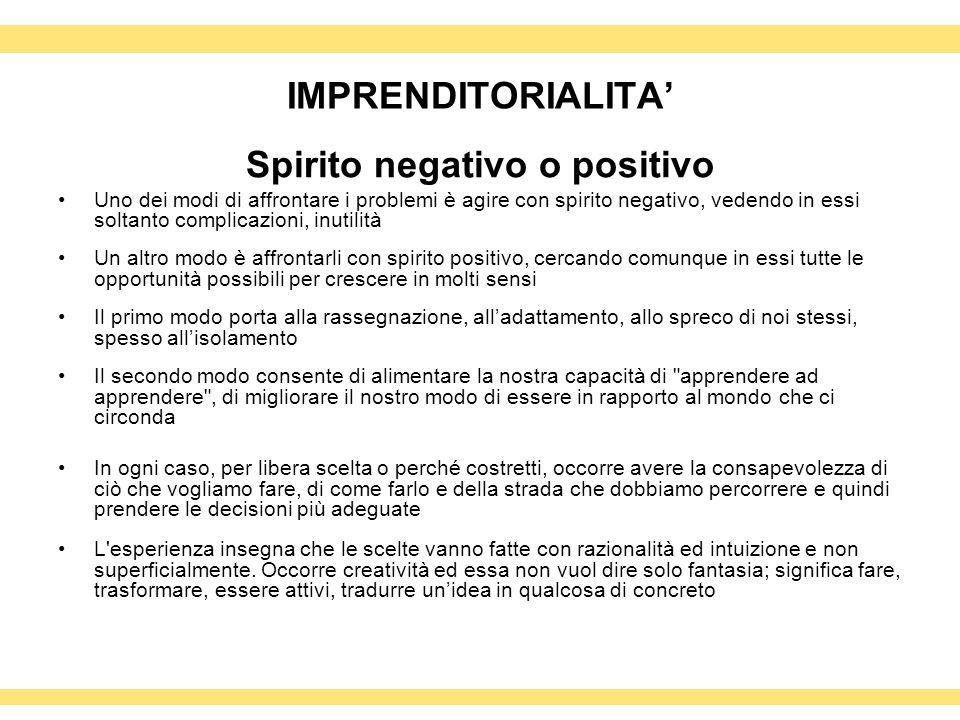 IMPRENDITORIALITA Spirito negativo o positivo Uno dei modi di affrontare i problemi è agire con spirito negativo, vedendo in essi soltanto complicazio
