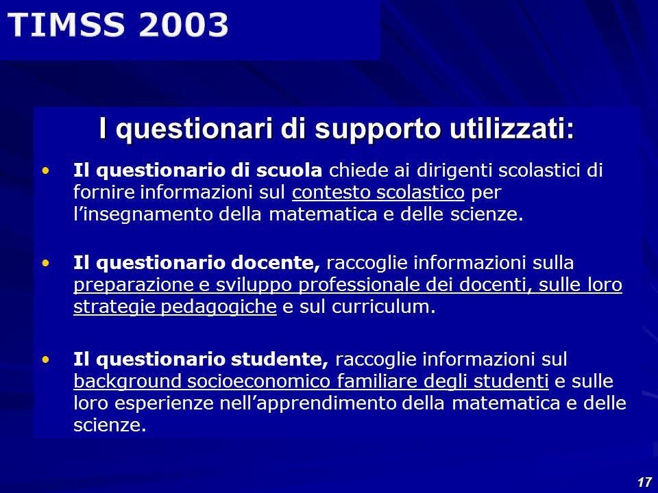 17 I questionari di supporto utilizzati: Il questionario di scuola chiede ai dirigenti scolastici di fornire informazioni sul contesto scolastico per