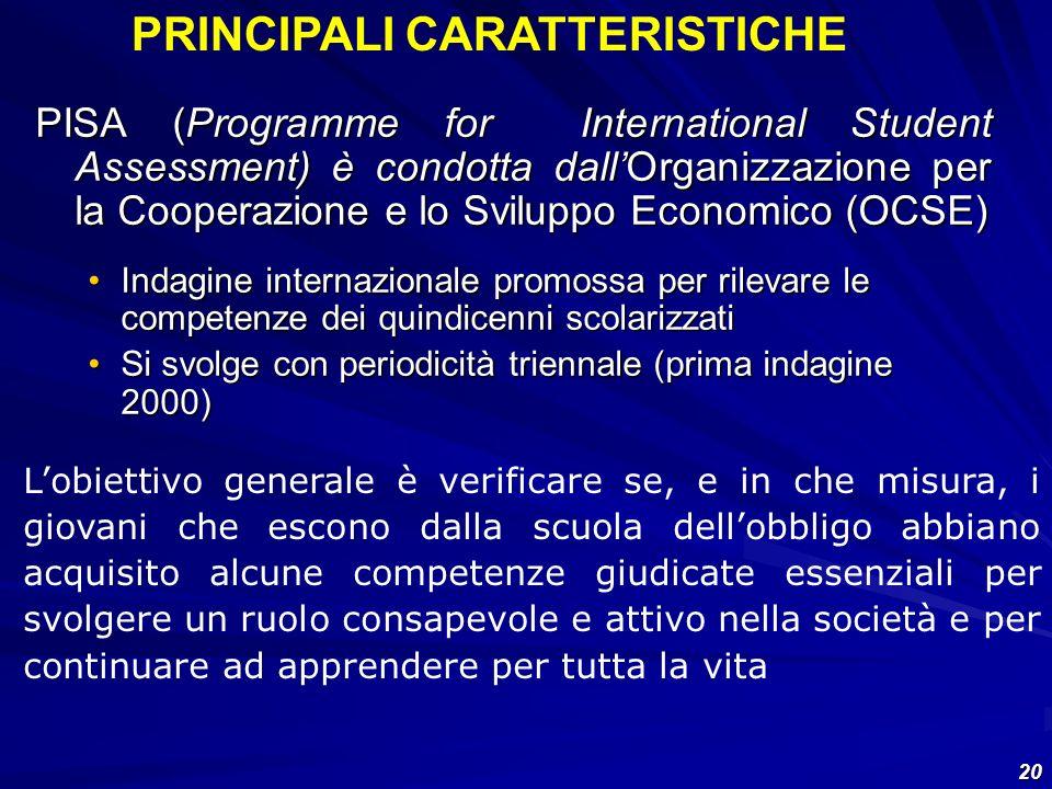 20 PISA (Programme for International Student Assessment) è condotta dallOrganizzazione per la Cooperazione e lo Sviluppo Economico (OCSE) Indagine int