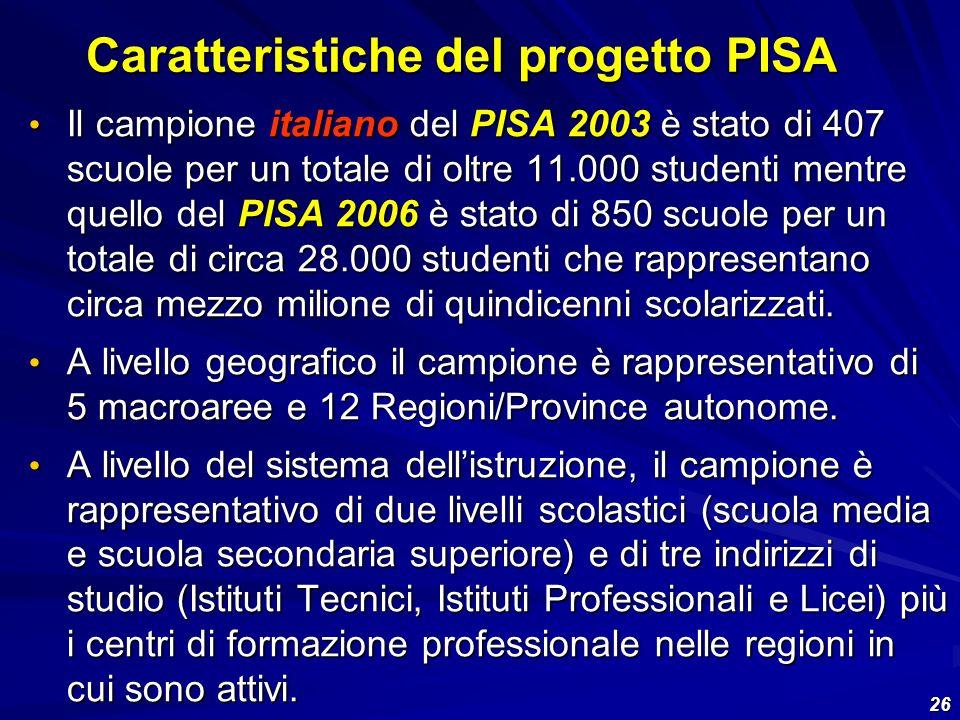 26 Il campione italiano del PISA 2003 è stato di 407 scuole per un totale di oltre 11.000 studenti mentre quello del PISA 2006 è stato di 850 scuole p