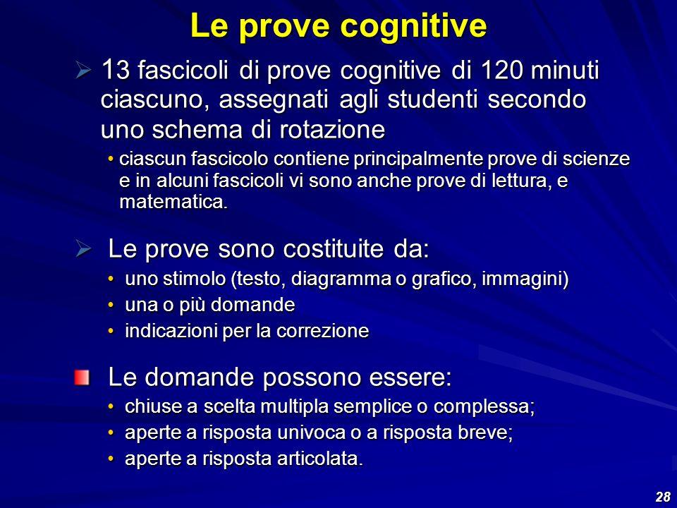 28 1 3 fascicoli di prove cognitive di 120 minuti ciascuno, assegnati agli studenti secondo uno schema di rotazione 1 3 fascicoli di prove cognitive d