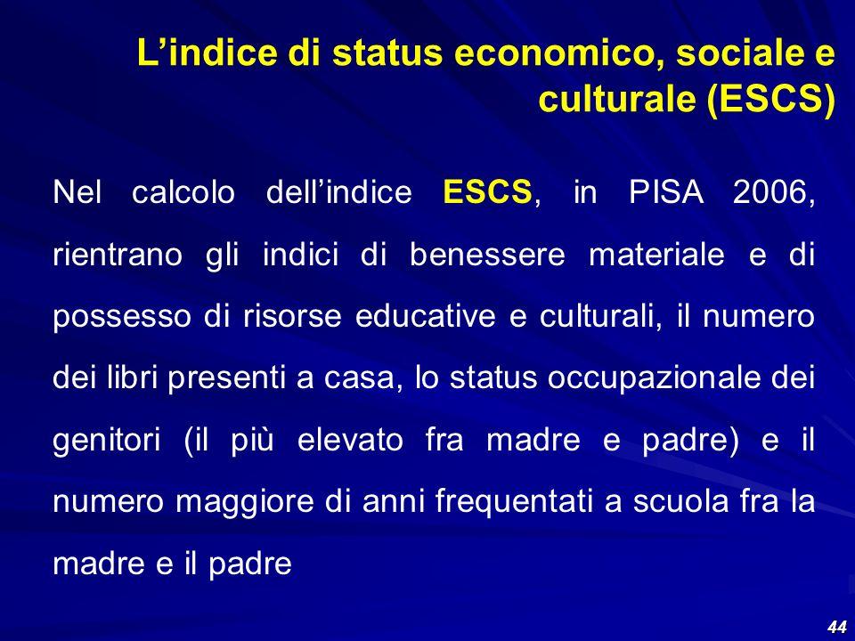 44 Nel calcolo dellindice ESCS, in PISA 2006, rientrano gli indici di benessere materiale e di possesso di risorse educative e culturali, il numero de