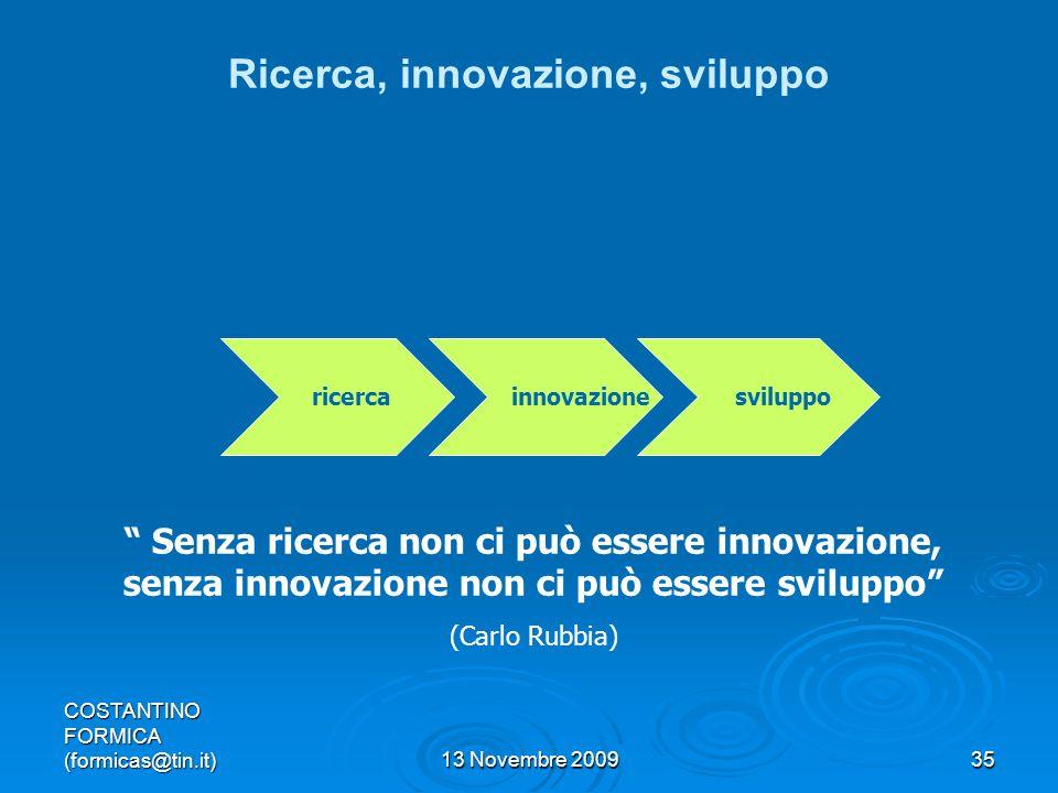 COSTANTINO FORMICA (formicas@tin.it)13 Novembre 200935 Ricerca, innovazione, sviluppo ricerca innovazione sviluppo Senza ricerca non ci può essere innovazione, senza innovazione non ci può essere sviluppo (Carlo Rubbia)