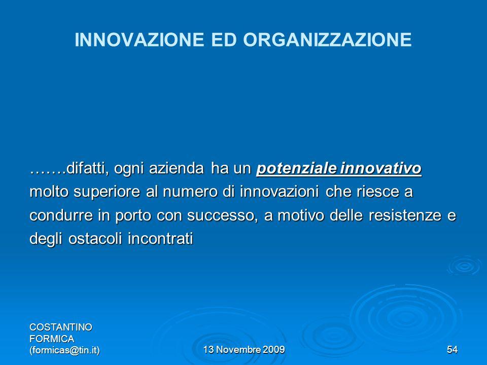 COSTANTINO FORMICA (formicas@tin.it)13 Novembre 200954 INNOVAZIONE ED ORGANIZZAZIONE …….difatti, ogni azienda ha un potenziale innovativo molto superiore al numero di innovazioni che riesce a condurre in porto con successo, a motivo delle resistenze e degli ostacoli incontrati
