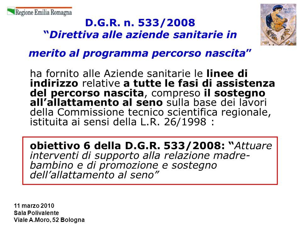 11 marzo 2010 Sala Polivalente Viale A.Moro, 52 Bologna D.G.R. n. 533/2008Direttiva alle aziende sanitarie in merito al programma percorso nascita ha