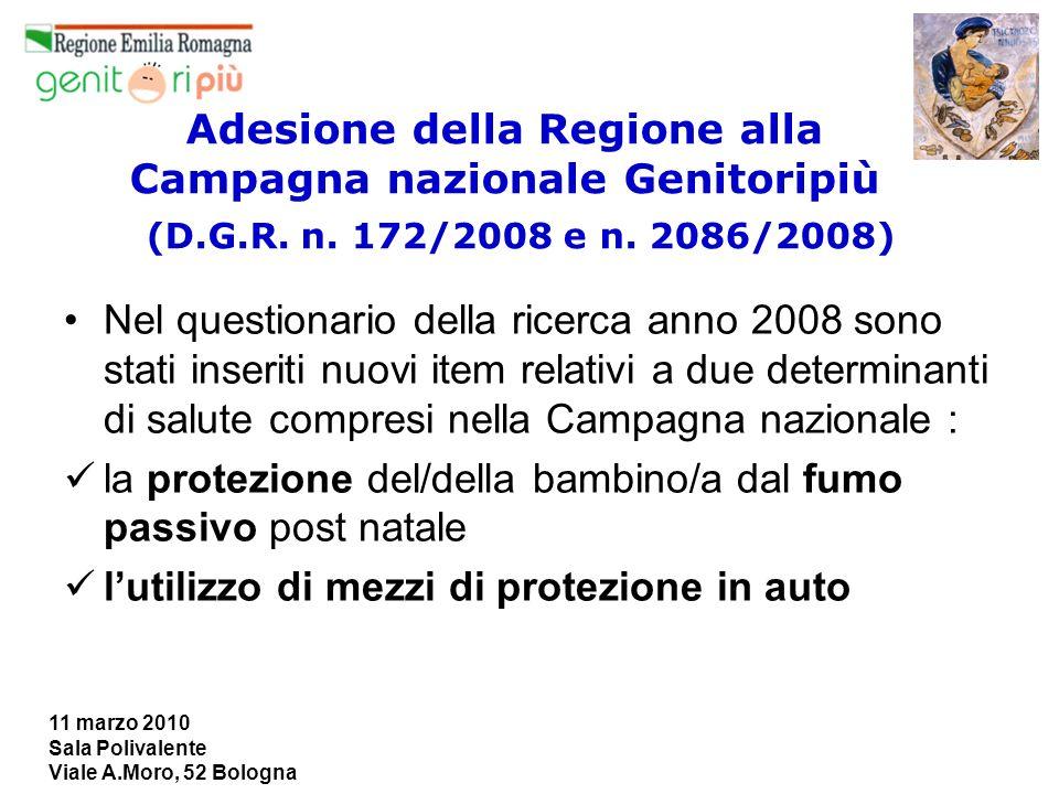11 marzo 2010 Sala Polivalente Viale A.Moro, 52 Bologna Adesione della Regione alla Campagna nazionale Genitoripiù (D.G.R. n. 172/2008 e n. 2086/2008)
