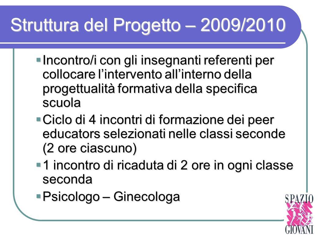 Struttura del Progetto – 2009/2010 Incontro/i con gli insegnanti referenti per collocare lintervento allinterno della progettualità formativa della sp