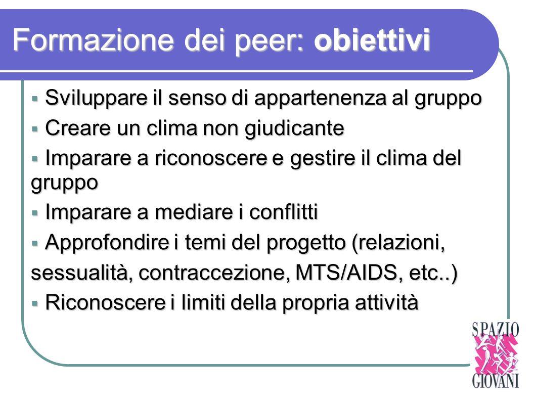 Formazione dei peer: obiettivi Sviluppare il senso di appartenenza al gruppo Sviluppare il senso di appartenenza al gruppo Creare un clima non giudica