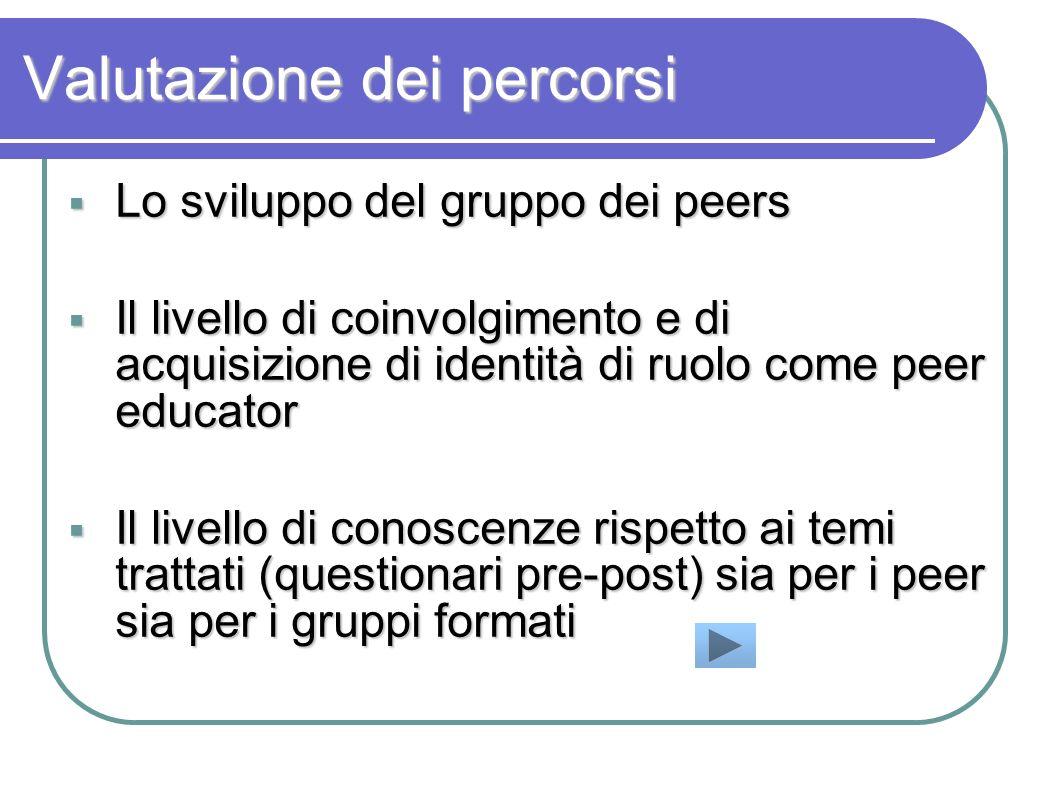 Valutazione dei percorsi Lo sviluppo del gruppo dei peers Lo sviluppo del gruppo dei peers Il livello di coinvolgimento e di acquisizione di identità