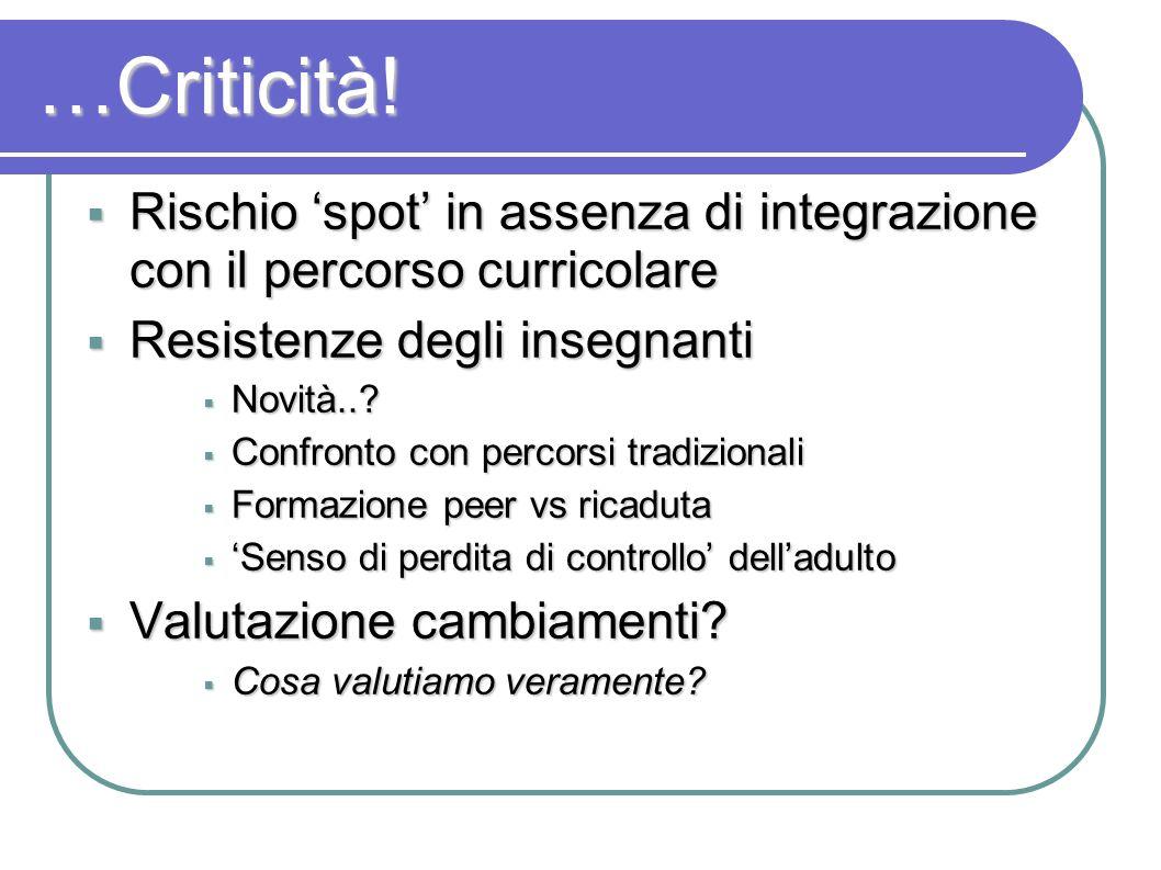 …Criticità! Rischio spot in assenza di integrazione con il percorso curricolare Rischio spot in assenza di integrazione con il percorso curricolare Re